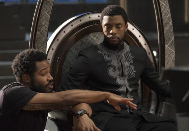 "Director Ryan Coogler with actor Chadwick Boseman on the set of ""Black Panther."" (Marvel Studios)"
