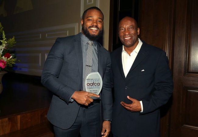Honorees directors Ryan Coogler (L) and John Singleton attend the 7th Annual AAFCA Awards on February 10, 2016 in Los Angeles, California. (Photo by Imeh Akpanudosen/Getty Images for AAFCA)