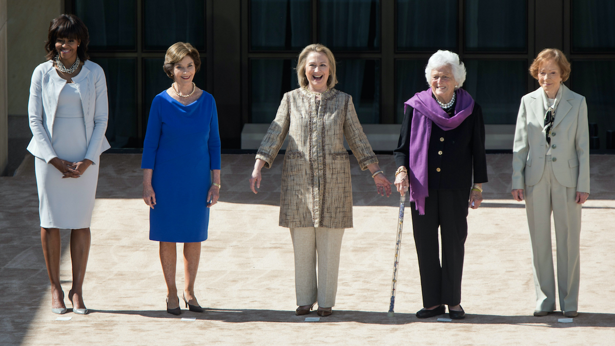 First Ladies Michelle Obama, Laura Bush, Hillary Clinton, Barbara Bush and Rosalynn Carter at dedication of the George W. Bush Presidential Library and Museum in 2013.