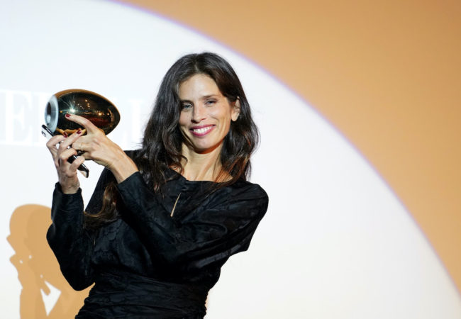 ZURICH, SWITZERLAND - OCTOBER 01: Maïwenn receives the Golden Eye Award during the 16th Zurich Film Festival at Arthouse Le Paris on October 01, 2020 in Zurich, Switzerland. (Photo by Thomas Niedermueller/Getty Images for ZFF)