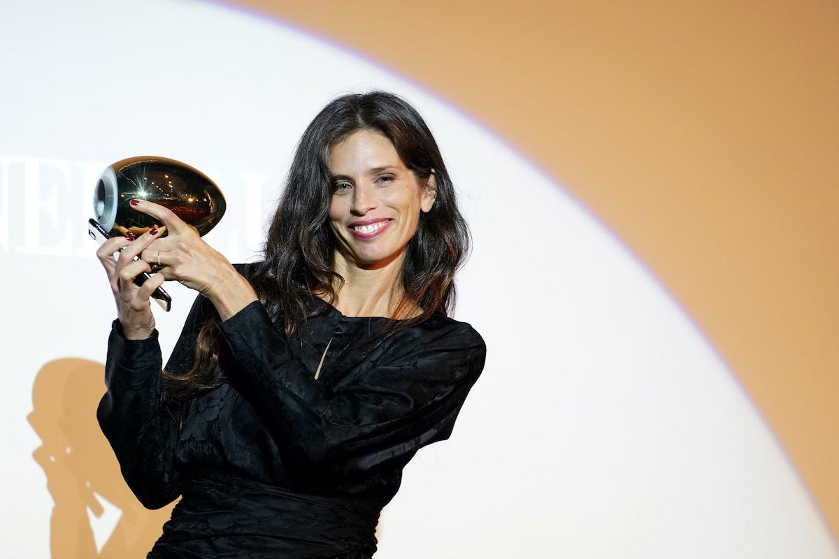 Maïwenn receives the Golden Eye Award during the 16th Zurich Film Festival