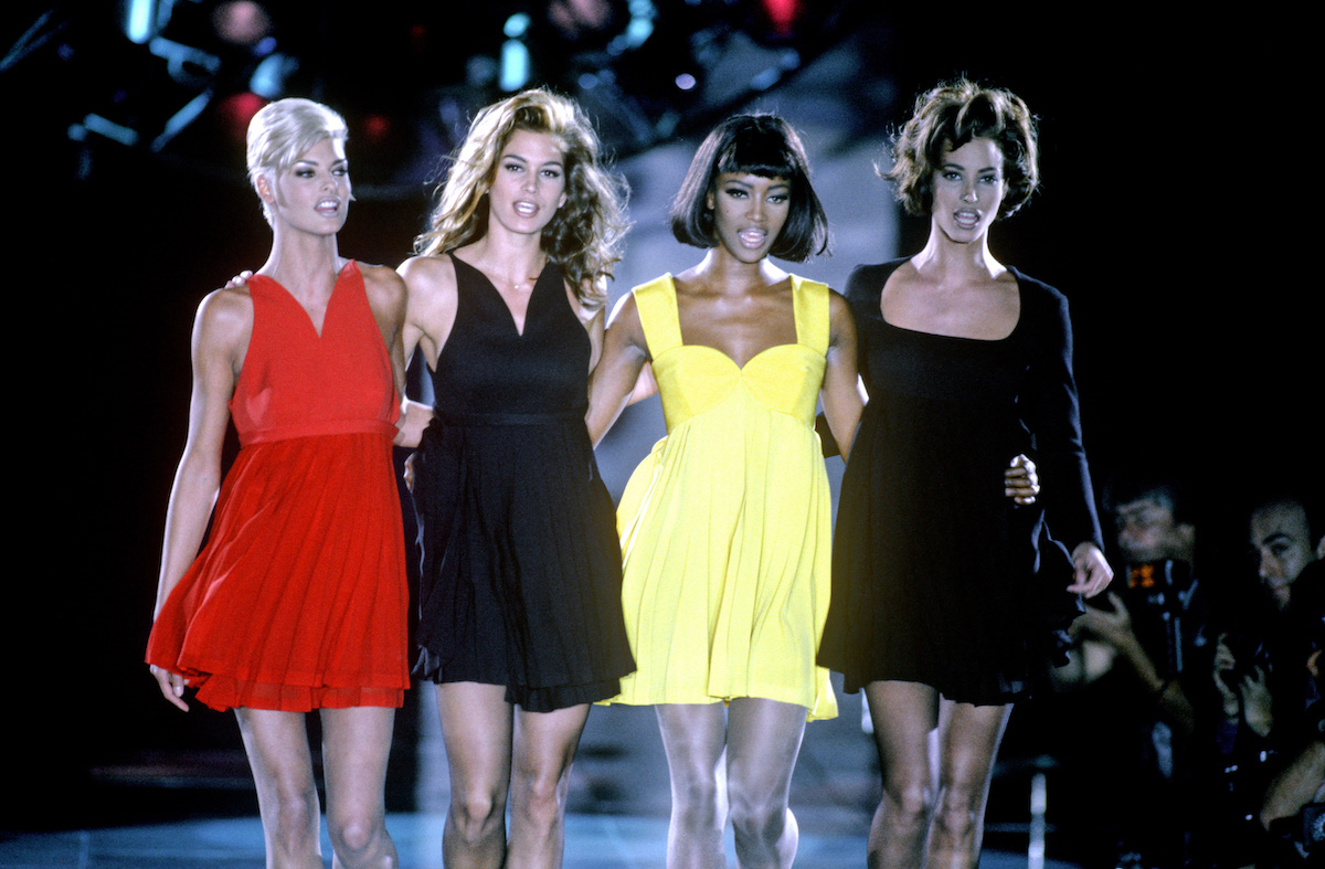 """Linda Evangelista, Cindy Crawford, Naomi Campbell and Christy Turlington, pictured here at Gianni Versace's Fall 1991 show, will revisit their iconic modeling careers in """"The Supermodels."""""""