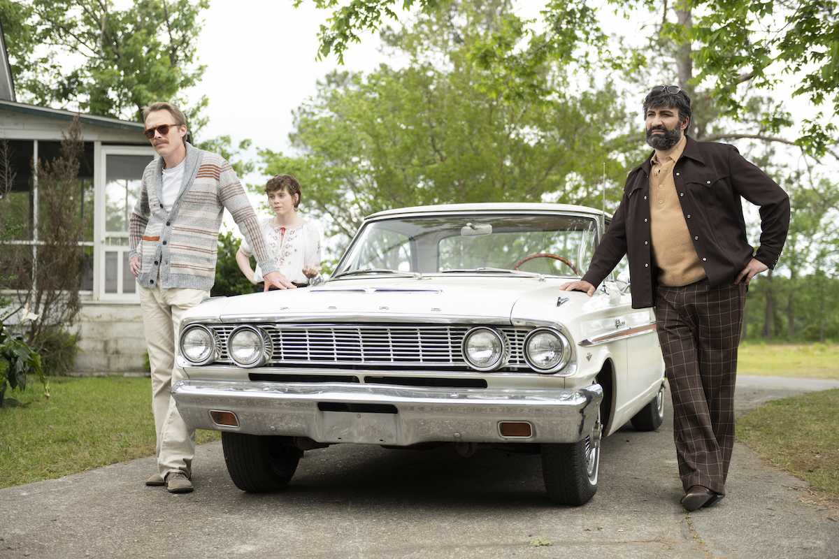 "(L-R) Paul Bettany as ""Frank,"" Sophia Lillis as ""Beth,"" and Peter Macdissi as ""Wally"" in UNCLE FRANK Photo: Brownie Harris/Amazon Studios"