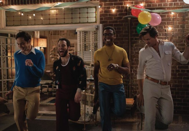 THE BOYS IN THE BAND (2020) Jim Parsons as Michael, Robin De Jesus as Emory, Michael Benjamin Washington as Bernard and Andrew Rannells as Larry. Cr. Scott Everett White/NETFLIX ©2020