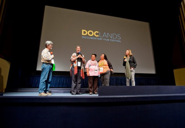 AY MARIPOSA Director Krista Schlyer on stage with Environmental Activists/Film Subjects Zulema Hernandez, Juventina Herrera and Marianna Trevino Wright for their #DocLands Q+A with Senior Programmer Kelly Clement. Photo by Tommy Lau Photography. via Facebook