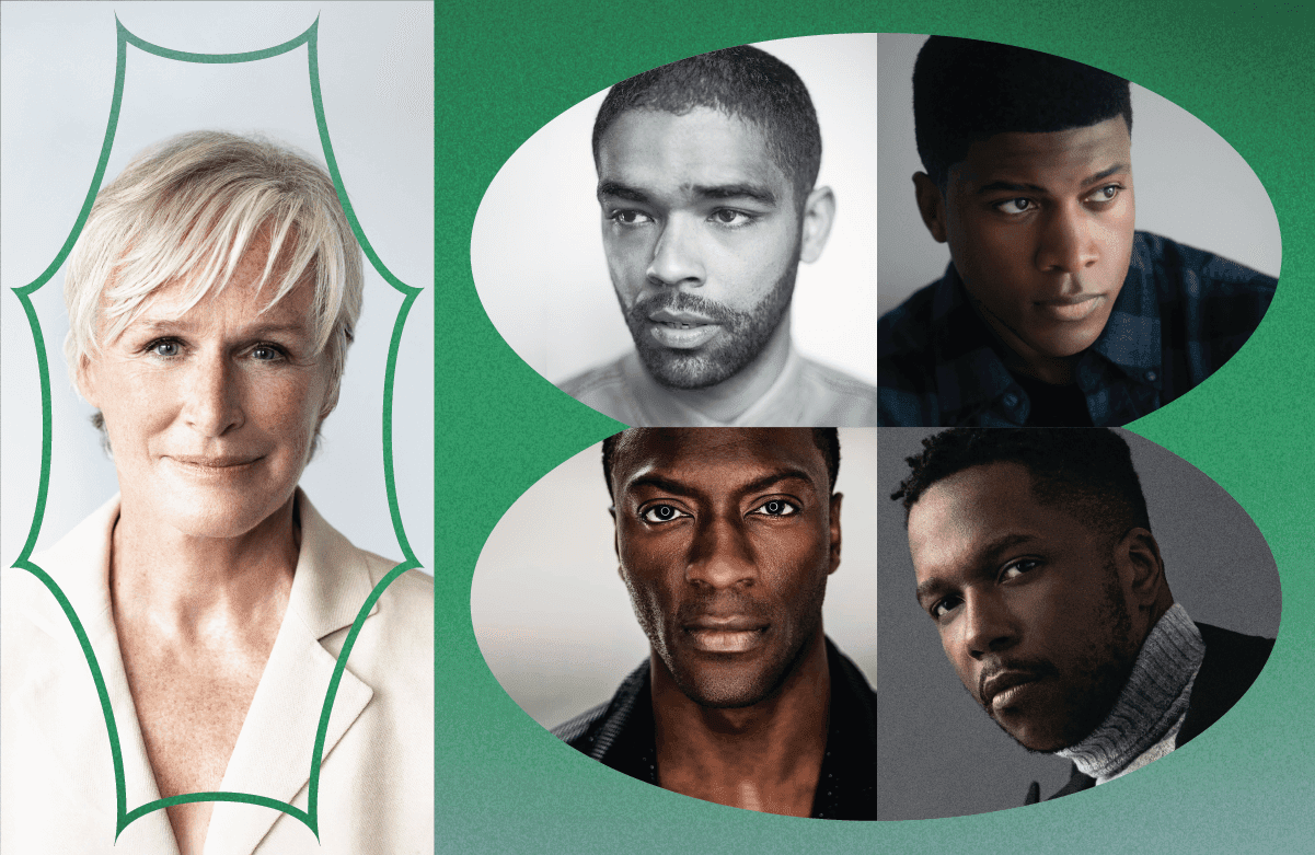 Glenn Close and the ensemble cast of One Night in Miami — Kingsley Ben-Adir, Eli Goree, Aldis Hodge, and Leslie Odom, Jr., Honorees at SFFILM Awards Night 2020