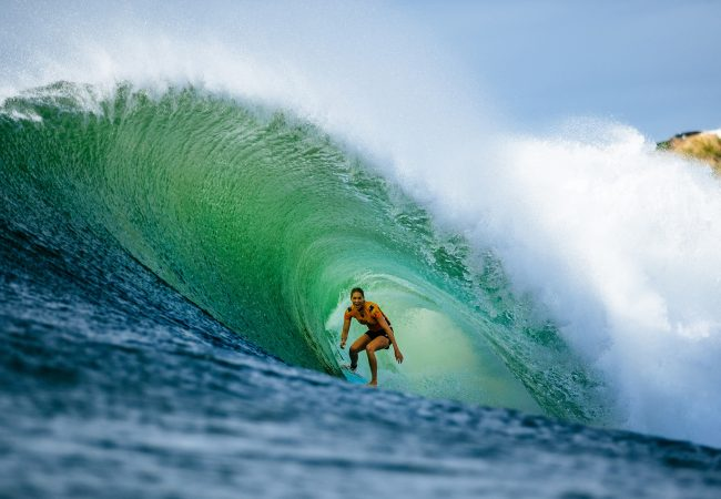 Seven-time World Surf League champion Stephanie Gilmore at Honolua Bay, Maui in 2018.