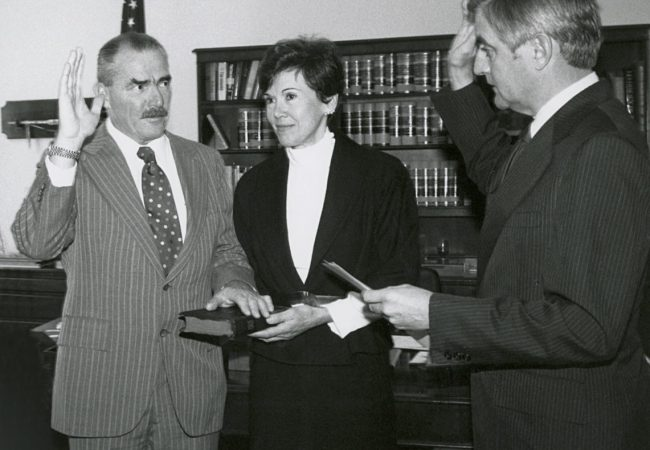 Judge Harry Pregerson sworn in by Vice President Walter Mondale to U.S. 9th Circuit Court of Appeals – Photo Credit: Pregerson family. 9th Circuit Cowboy - The Long, Good Fight of Judge Harry Pregerson, directed by Terry Sanders