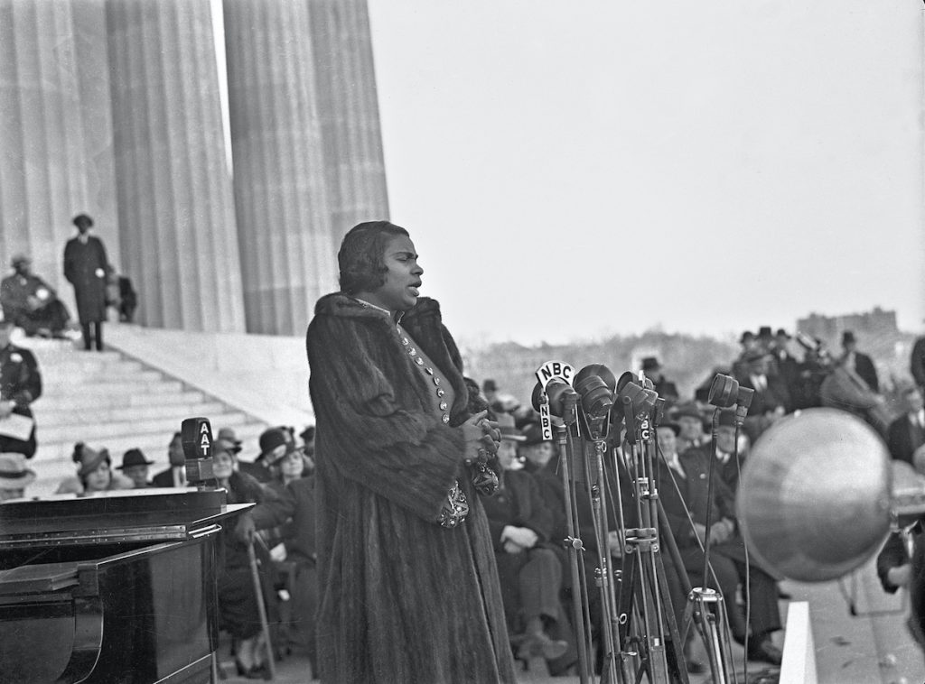 Marian Anderson at the Lincoln Memorial, 1939.