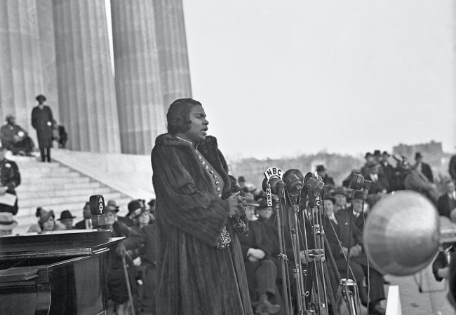 Marian Anderson at the Lincoln Memorial, 1939. Photograph by Robert S. Scurlock. Scurlock Studio Records, Archives Center, National Museum of American History, Smithsonian Institution