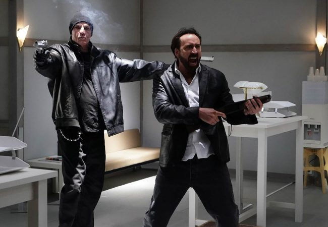 Nick Cassavetes and Nic Cage appears in Prisoners of the Ghostland by Sion Sono, an official selection of the Premieres section at the 2021 Sundance Film Festival. Courtesy of Sundance Institute.