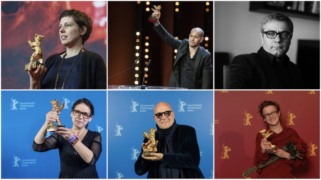International Jury of the 71st Berlinale (from t. l. to b. l. clockwise): Adina Pintilie, Nadav Lapid, Mohammad Rasoulof, Jasmila Žbanić, Gianfranco Rosi, Ildikó Enyedi.