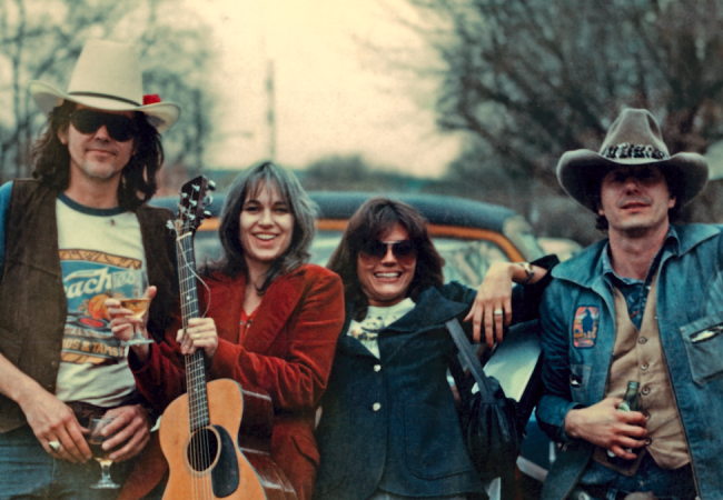 """Without Getting Killed or Caught"" directed by Tamara Saviano, Paul Whitfield. [Guy Clark, Susanna Clark, Susan Walker, Jerry Jeff Walker, Nashville, TN circa 1974. 