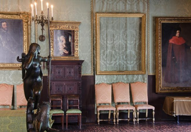 """An empty frame remains where The Storm on the Sea of Galilee was once displayed. Picture provided by the FBI showing the empty frames for missing paintings after the theft at the Isabella Stewart Gardner Museum """"This Is a Robbery: The World's Biggest Art Heist"""""""