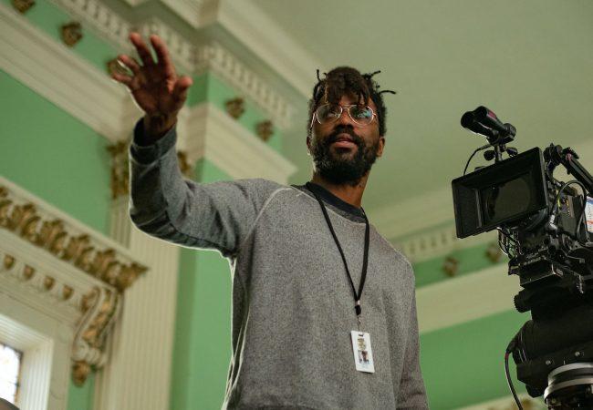 Filmmaker Shaka King on the set of Judas and the Black Messiah. Glen Wilson/2021 Warner Bros. Entertainment Inc