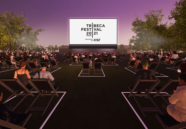 Rendering of 20th Tribeca Film Festival in person at The Battery. Photo Credit: Overland Entertainment