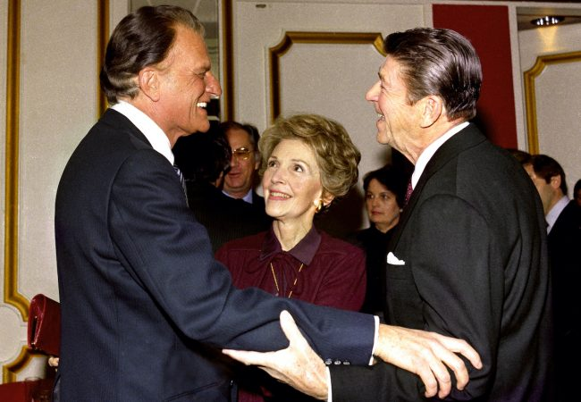 Billy Graham (left) with Nancy and Ronald Reagan. 1981. Courtesy of Billy Graham Evangelistic Association