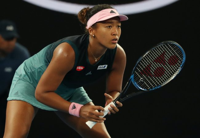 MELBOURNE, AUSTRALIA - JANUARY 24, 2019: Grand Slam champion Naomi Osaka of Japan in action during her semifinal match at 2019 Australian Open in Melbourne Park — (DP)