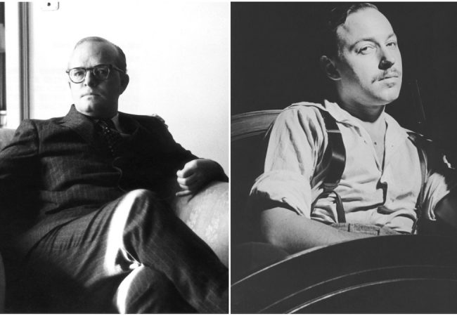 Truman & Tennessee: An Intimate Conversation. (Tuman Capote. Courtesy of Getty Images; Tennessee Williams. Photo by Ara Guler, Courtesy of Getty Images)
