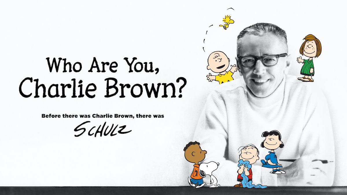 """Charles M. Schulz pictured with his beloved Peanuts characters in """"Who Are You, Charlie Brown?"""""""