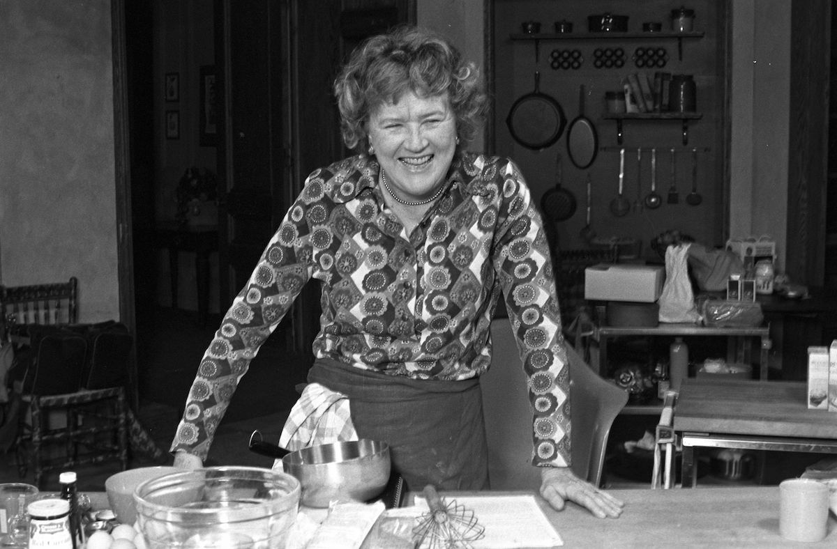 Julia Child on the set of her cooking show,'The French Chef.