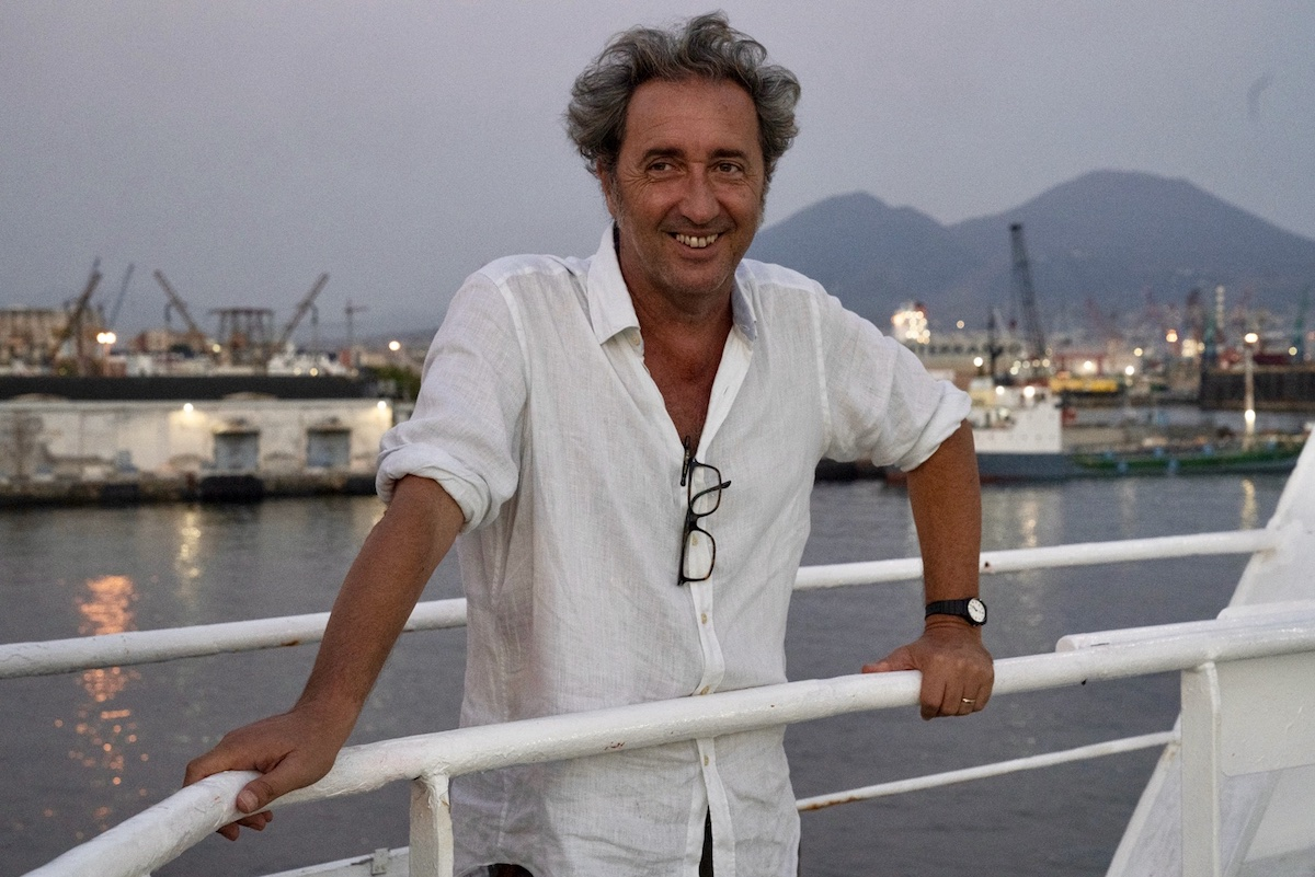 Paolo Sorrentino on the set of The hand of God