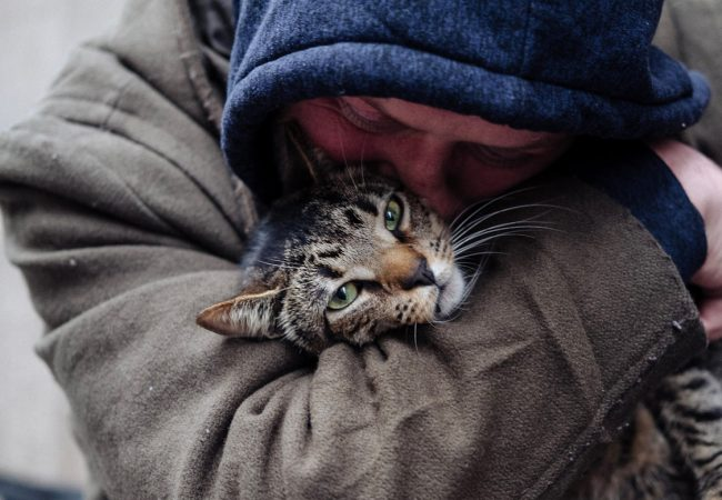 CAT DADDIES. David Giovanni hugs his cat Lucky in New York City. Image by Eric Yang
